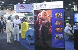 Large hydrocyclones were on display at the Krebs Engineers stand